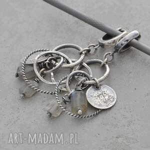 labradoryt i srebrne koła kolczyki wiszące 050, labradoryt, srebro 925, surowa