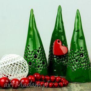ceramika lampion choinka na tealight zielona, choinka, lampion, lampa