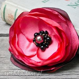 hand-made broszki czerwona broszka przypinka kwiatek, prezent dla niej