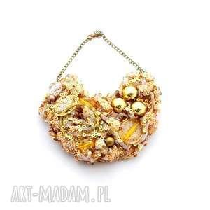 golddigger naszyjnik handmade, naszyjnik, kolia, złoty, cekiny