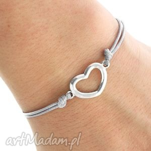 simply charm - gray twine with heart - serce