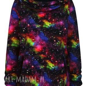 duża obszerna bluza kangurka unisex z kapturem galaktyka kosmos