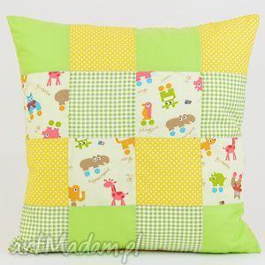poduszka dekoracyjna patchwork zwierzaki 1 40x40cm - poduszki, poszewka, dekoracja