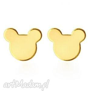 złote kolczyki myszki, kolczyki, sztyfty, modne, dziecięce, wkrętki, święta