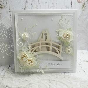 Na mostku - kartka ślubna w pudełku scrapbooking kartki