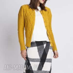Zapinany sweterek, SWE008 żółty MKM, dzianinowy, rozpinany, krótki, kardigan, blezer,