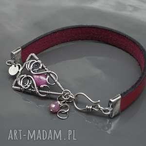bransoletka - rzemień naturalny i rubin scarlet - bransoletka, rzemień