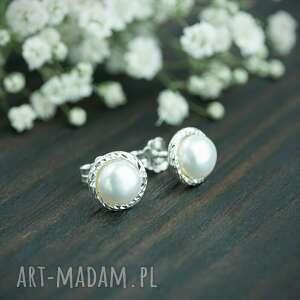 srebrne sztyfty z naturalnymi perłami, sztyfty, perłami