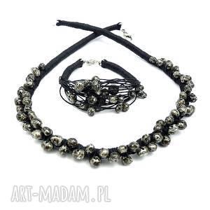 czarna perła - komplet biżuterii, perły, boho, eleganckie, naturalne, oryginalne
