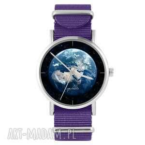 Zegarek - ziemia fioletowy, nylonowy zegarki yenoo zegarek