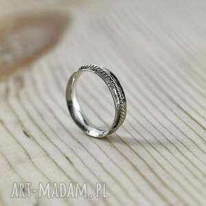 obrączki obrączka srebrna, ręcznie robiona, srebro