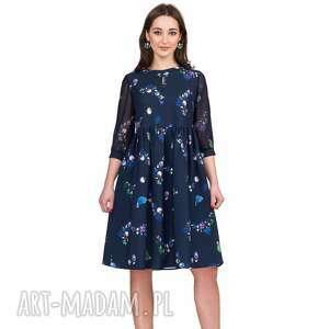 Sukienka ALICE Mini Penelopa, marszczona, kwiaty, łezka, urocza, poszerzana, mini