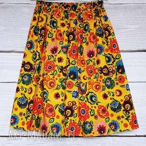 spódnica bawełniana folk słoneczny, łowicz, łowicki wzór, folk, tradycyjna
