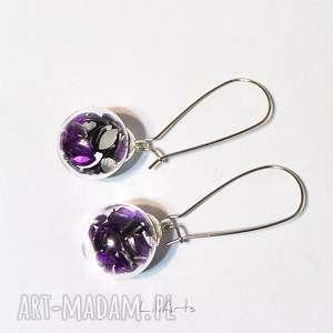 kolczyki wiszące - fioletowe kryształki, kolczyki, szklane, kryształki