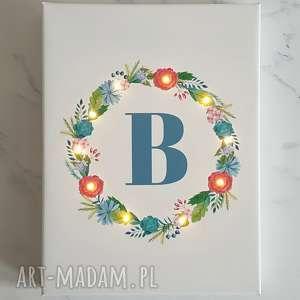 ręczne wykonanie dekoracje obraz led z kwiatowym wianuszkiem, styl rustykalny, prezent