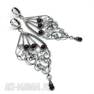 Butterfly wings, kolczyki, srebro, granat, hajcz