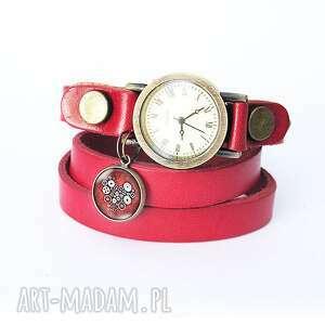 bransoletka, zegarek - steampunk heart serce czerwony, skórzany