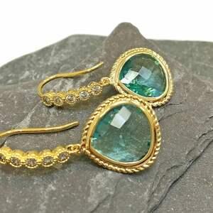 kolczyki kryształ i cyrkonie, pozłacane , kolczyki, złoto, niebieskie