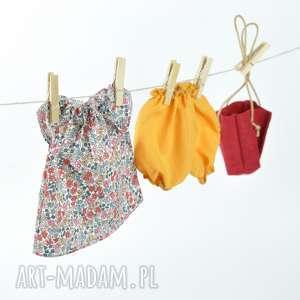 Kolorowa tunika bloomersy, ubranka, dlalalki, ubrankadlalalki, szmacianka, lalki