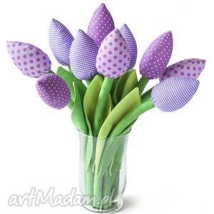 dom fioletowe tulipany, bawełniany bukiet - tulipany