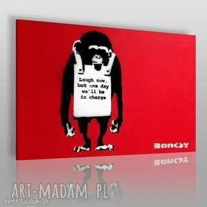 obraz na płótnie - banksy małpa 120x80 cm 20002 , małpa, banksy, napisy, streetart