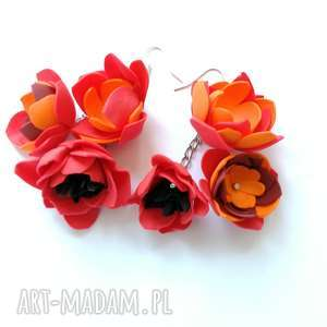 handmade klipsy lekkie kwiatowe boho kolorowe folk