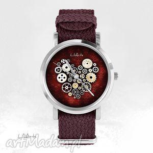 Prezent Zegarek, bransoletka - Serce steampunk, bordo bordowy, nato, zegarek