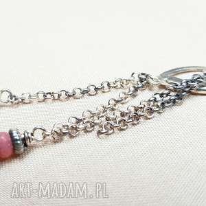 Kolczyki ze srebra i agatu, srebro, oksydowane, lekkie, długie, minimalistyczne