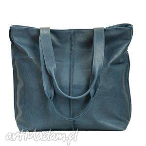 Prezent turkusowa torba ze skóry licowej, torba, torebka, wygodna, prezent, duża