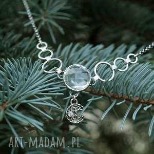 W krysztale księżyca odbicie, elegancki, księżyc, przezroczysty, boho, błyszczący
