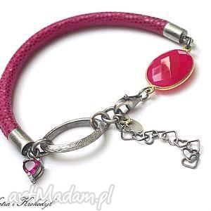 hot pink -heart -bransoletka, skóra, rzemień, srebro, kwarc