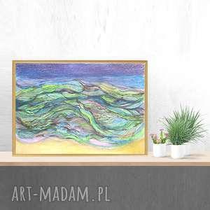 morze obraz oprawiony, rysunek morze, abstrakcja obraz, nowoczesny rysunek, ręcznie
