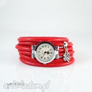 Prezent Zegarek, bransoletka - Czerwony Koniczynka, na szczęście, zegarek