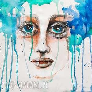 obraz na płótnie deszcz 100x70cm artystki plastyka adriany laube, wydruk, płótno