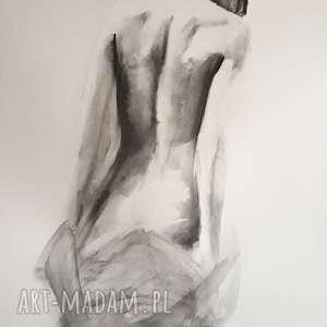 woman 100x70, duży obraz akt, kobieta duża grafika, czarno biała