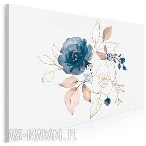 obraz na płótnie - róże błękit złoto 120x80 cm 97101, róże, kwiaty, rośliny