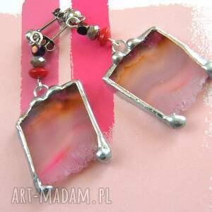 kolczyki wiszące agat różowe, wiszące, agat