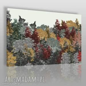 obraz na płótnie - drzewa jesień kolory 120x80 cm 60901, drzewa, las