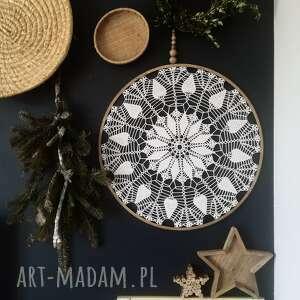 łapacz snów 57 cm, snów, lapacz, dekoracja ścienna, koronka, koło, korale