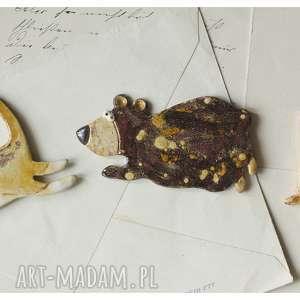 zestaw 3 magnesów - biegnące zwierzaki, ceramika, magnes, kot, pies, miś