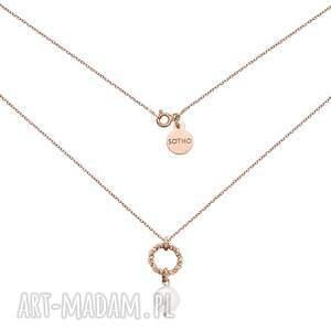 naszyjniki naszyjnik z różowego złota ozdobnym kółeczkiem i naturalną perłą