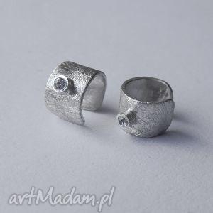 Okrąg kolczyki nausznice katarzyna kaminska srebro, zmatowione,