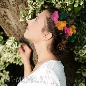 hand-made ozdoby do włosów kwiat fuksja