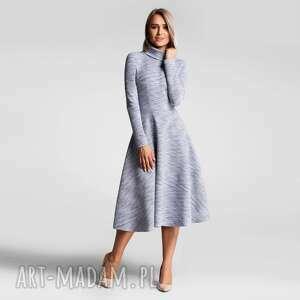 sukienka noella total midi nikola szary błękit melanż