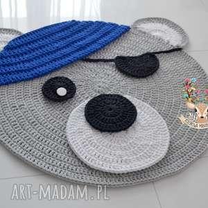 dywan miś pirat 100cm, dywan, miś, pirat, granatowy, szary, dywanik