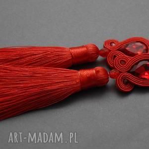 czerwone kolczyki sutasz, sznurek, eleganckie, wiszące, wieczorowe, długie
