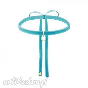 hand-made naszyjniki turkusowy aksamitny choker ze złotym sześciokątem