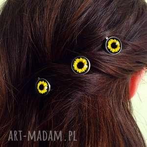słoneczniki - 3 wsuwki do włosów, spinki, kwiaty, lato