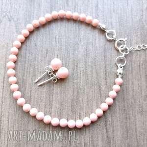 komplet z perłami swarovskiego w srebrze 925, perły swarovski, swarovski