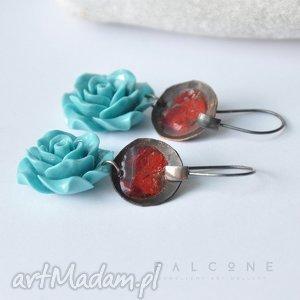 Ekstrawaganckie Róże, kolczyki, srebro, miedź, turkus, róże,